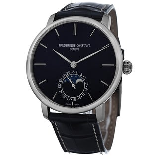 Frederique Constant Men's FC-705N4S6 'Slim Line' Blue Dial Blue Leather Strap Automatic Watch