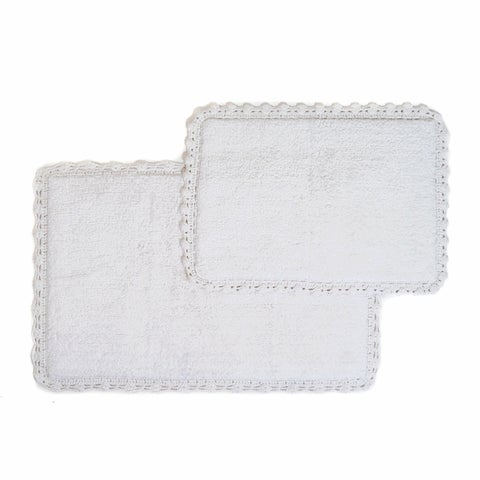 Crochet Edge 2-piece Bath Rug Set - includes BONUS step out mat