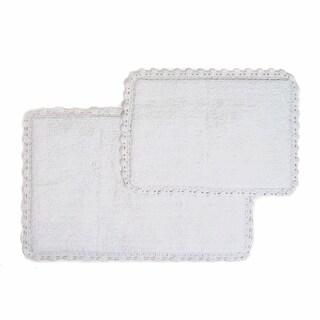 Crochet Edge 2-piece Bath Rug Set - includes BONUS step out mat