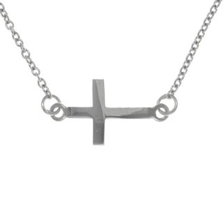Carolina Glamour Collection Sterling Silver Classic Sideways Cross Bar Necklace