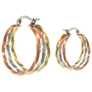 Carolina Glamour Collection Stainless Steel Triple-tone Twist Three Hoop Latch Back Earrings