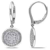 Miadora Signature Collection 14k White Gold 1/2ct TDW Diamond Circle Drop Earrings