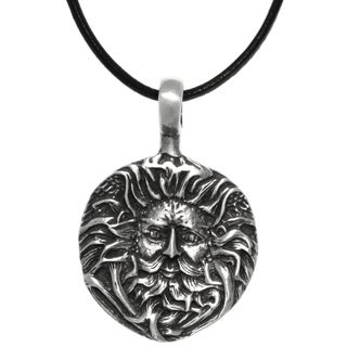Pewter Green Man Face Round Pendant on Black Leather Necklace - Silver