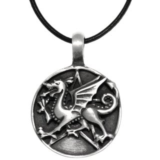Carolina Glamour Collection Pewter Dragon Star Round Medallion Pendant on Black Leather Necklace