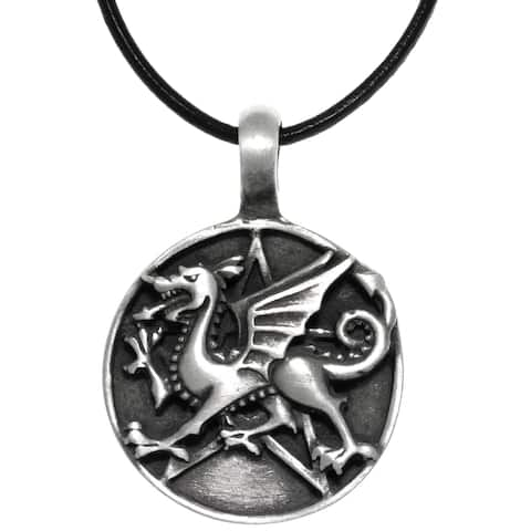 Pewter Dragon Star Round Medallion Pendant on Black Leather Necklace