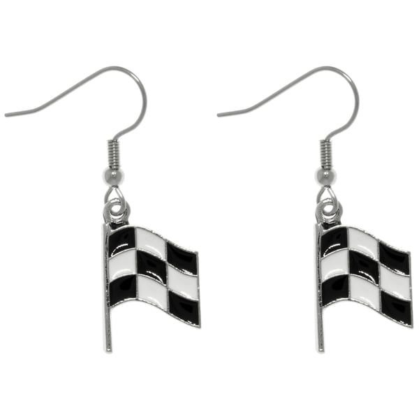 Pewter Black and White Checkered Car Racing Flag Finish Line Dangle Earrings