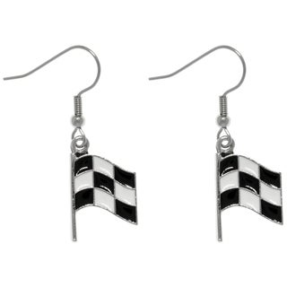 Carolina Glamour Collection Pewter Black and White Checkered Car Racing Flag Finish Line Dangle Earrings