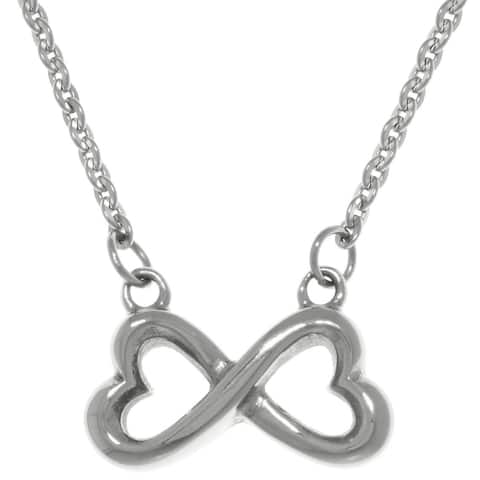 Carolina Glamour Collection Stainless Steel Infinity Heart Pendant Necklace