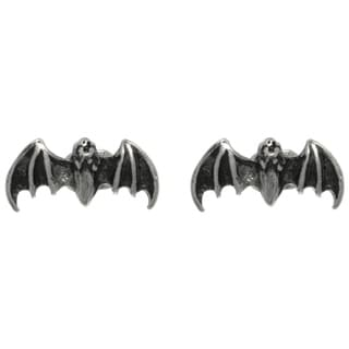 Carolina Glamour Collection Pewter Flying Bat Unisex Stud Post Earrings