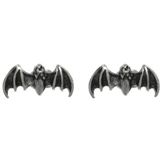 Pewter Flying Bat Unisex Stud Post Earrings