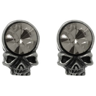 Carolina Glamour Collection Pewter Crystal Skull Head Unisex Stud Post Earrings