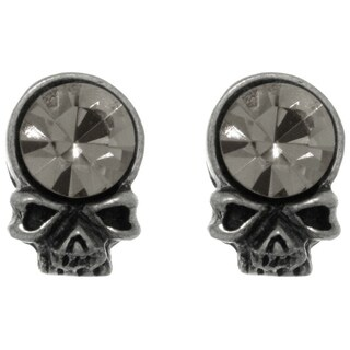 Pewter Crystal Skull Head Unisex Stud Post Earrings