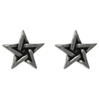 Carolina Glamour Collection Pewter Five Point Star Unisex Stud Post Earrings