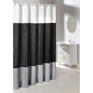 Poly Silk Color Block Shower Curtain