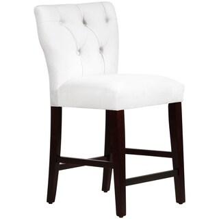 Skyline Furniture Tufted Hourglass Counter Stool in Velvet White