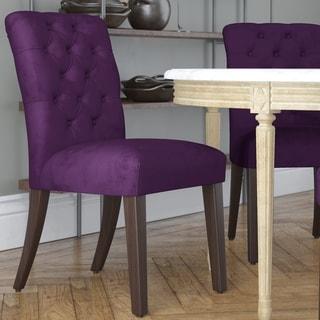 Skyline Furniture Tufted Dining Chair in Velvet Aubergine