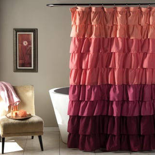 Lush Decor Ruffle Peach to Plum Shower Curtain