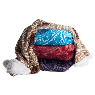 Victorian Printed Soft Plush Fleece Throw with Sherpa Backing