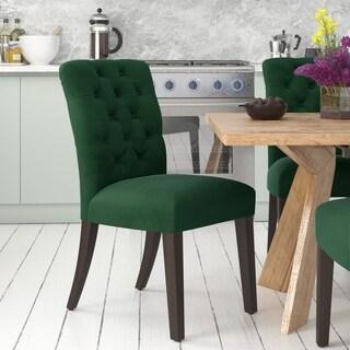 Made to Order Tufted Mor Dining Chair in Velvet Emerald