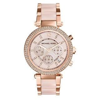 Michael Kors Women's MK5896 'Parker' Rose Goldtone Chronograph Watch - PInk