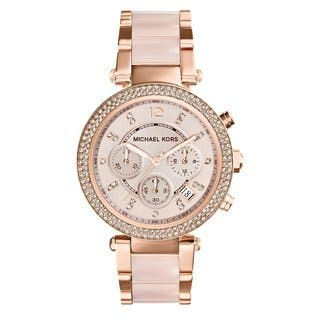 Michael Kors Women's MK5896 'Parker' Rose Goldtone Chronograph Watch|https://ak1.ostkcdn.com/images/products/9573640/P16762488.jpg?impolicy=medium