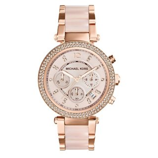 Michael Kors Women's 'Parker' Rose Goldtone Chronograph Watch - PInk