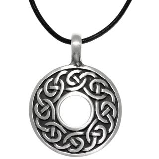 Pewter Celtic Knot Round Ring Pendant on Black Leather Necklace