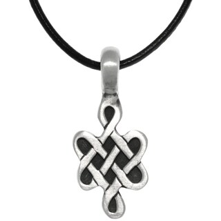 Carolina Glamour Collection Pewter Celtic Love Knot Symbol Pendant on Black Leather Necklace