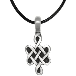 Pewter Celtic Love Knot Symbol Pendant on Black Leather Necklace