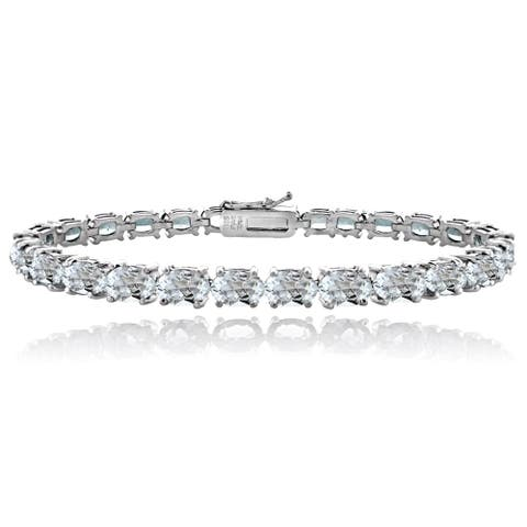 Glitzy Rocks Sterling Silver 13ct Aquamarine Oval Tennis Bracelet