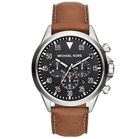 Michael Kors Men's MK8333 'Gage' Luggage Leather Chronograph Watch - brown