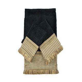Austin Horn Classics York Stripe Black Luxury Embellished 3-piece Towel Set