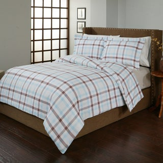 Pointehaven Monet Flannel 3-piece Duvet Cover Set