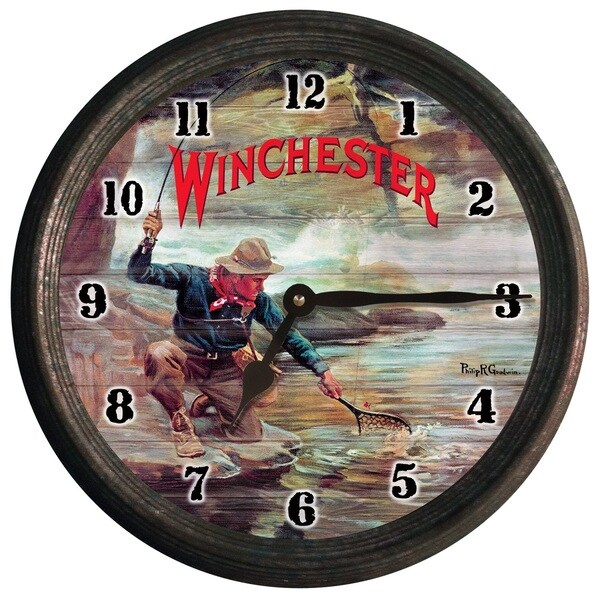 Winchester Fisherman By Stream Wall Clock