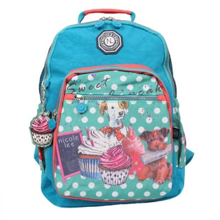 Nicole Lee Cupcake Dog Print 15-inch Water-resistant Crinkle Nylon Backpack