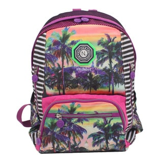 Nicole Lee Hollywood Print Water-resistant Crinkle Nylon 17-inch Backpack