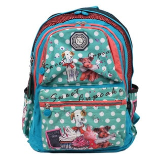 Nicole Lee Cupcake Dog Print Water-resistant Crinkle Nylon 17-inch Laptop Backpack