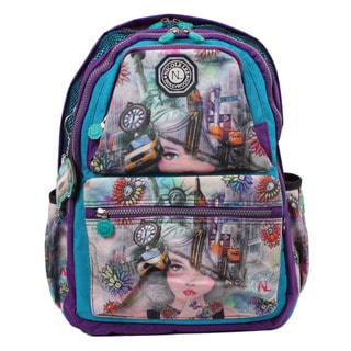 Nicole Lee New York 2 Print Water-resistant Crinkle Nylon 17-inch Laptop Backpack