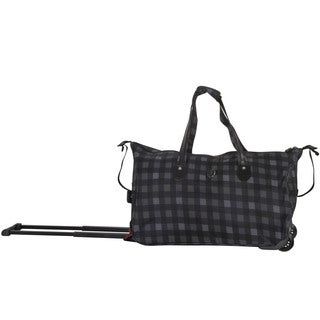 CalPak 'Madison' Black Checks 21-inch Carry On Rolling Upright Duffel Bag