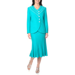 Mia-Knits Collection Women's Zig Zag Embellished Skirt Suit