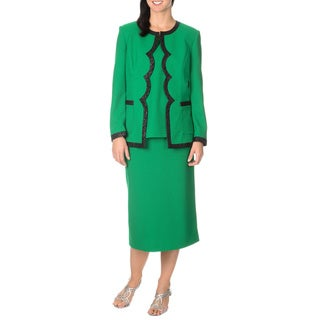 Mia-Knits Collection Women's Scalloped Edge 3-piece Skirt Suit