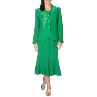 Mia-Knits Collection Women's Rhinestone Design 2-piece Skirt Suit