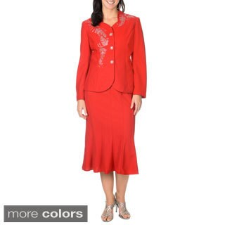 Mia-Knits Collection Women's Rhinestone Design 2-piece Skirt Suit