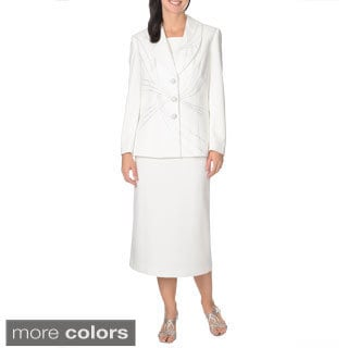 Mia-Knits Collection Women's Rhinestone Embellished Skirt Suit