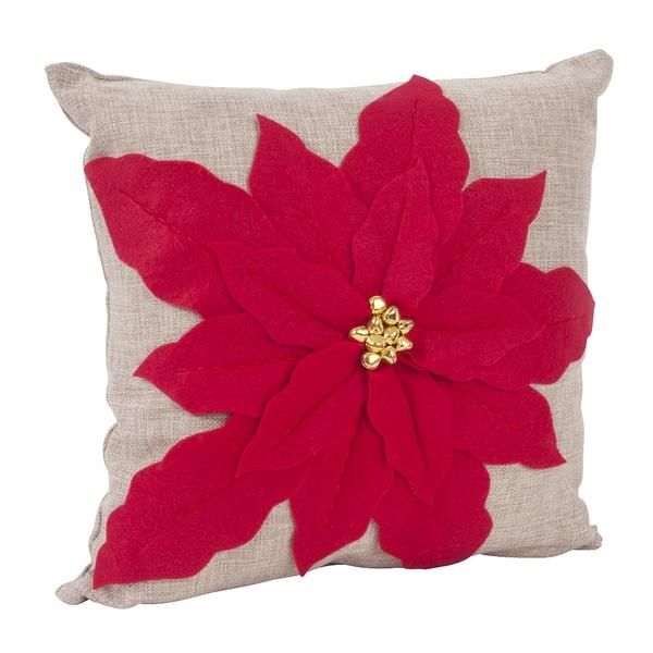 Poinsettia Design Decorative Pillow