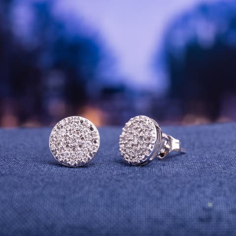 Miadora 10k White Gold 1/4ct TDW Diamond Circle Cluster Stud Earrings
