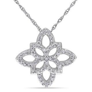 Miadora 10k White Gold 1/4ct TDW Diamond Necklace