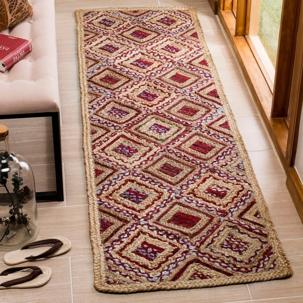 Safavieh Cape Cod Handmade Natural / Red Jute Natural Fiber Rug - 2'3 x 6'