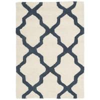Safavieh Handmade Moroccan Cambridge Ivory/ Navy Wool Rug (2' x 3')