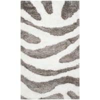 Safavieh Handmade Barcelona Shag Ivory/ Silver Polyester Rug - 2' x 3'